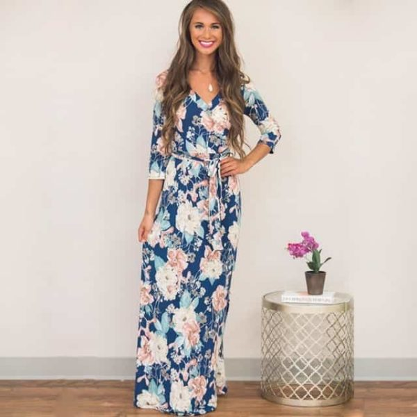 maxi dress outfit blue