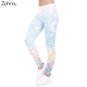 Zohra Brand Leggings Mandala Mint Print Fitness Legging