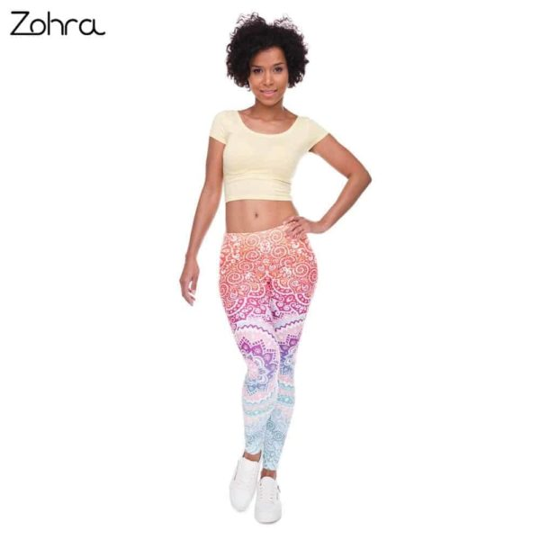 Zohra Brands Women Fashion Legging Aztec Round Ombre Printed 4