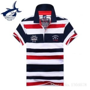 Striped Tace & Shark Polo Mens Shirt