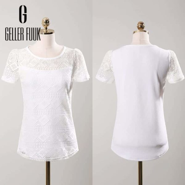 Women Top Chiffon Lace Crochet Clothing Shirt 2