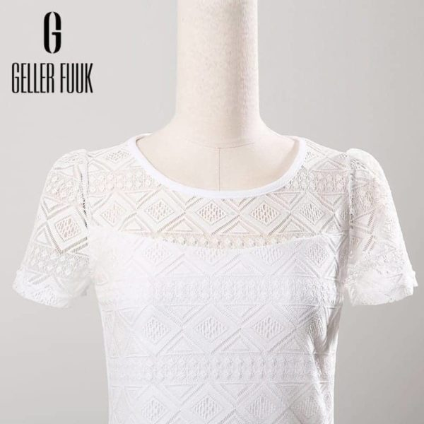Women Top Chiffon Lace Crochet Clothing Shirt 3