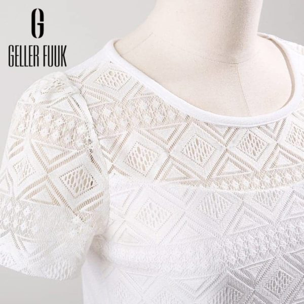 Women Top Chiffon Lace Crochet Clothing Shirt 4