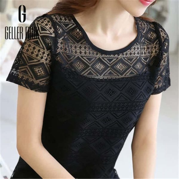 Women Top Chiffon Lace Crochet Clothing Shirt 5