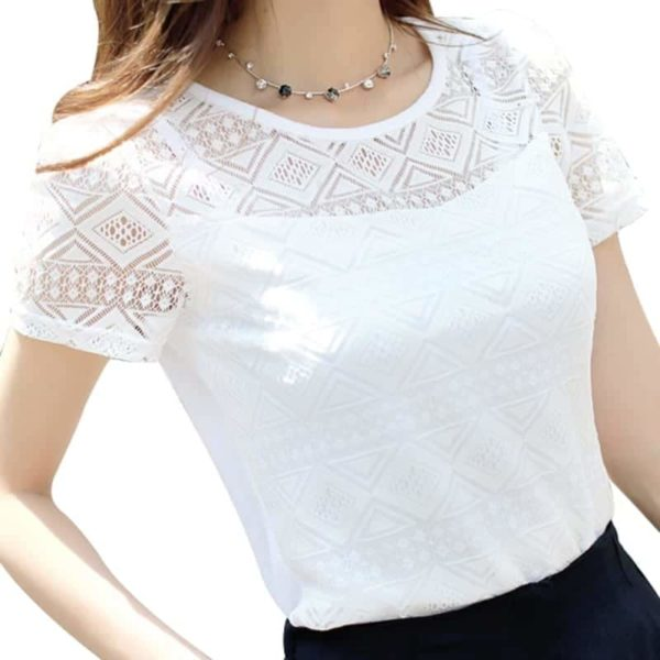 Women Top Chiffon Lace Crochet Clothing Shirt 1