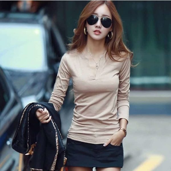 Sexy Slim Knitted Long Sleeve Chemise Top 3