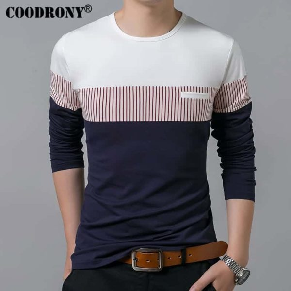 COODRONY Spring Summer Men Long Sleeve O-Neck T-Shirt 2