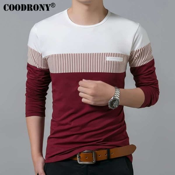 COODRONY Spring Summer Men Long Sleeve O-Neck T-Shirt 3