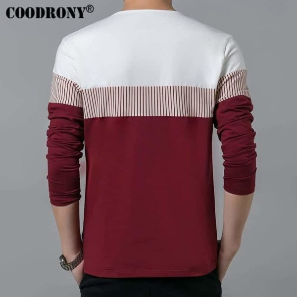COODRONY Spring Summer Men Long Sleeve O-Neck T-Shirt 4