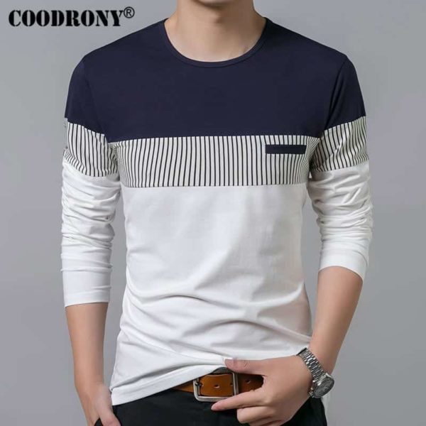 COODRONY Spring Summer Men Long Sleeve O-Neck T-Shirt 1