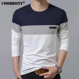 COODRONY Spring Summer Men Long Sleeve Shirt
