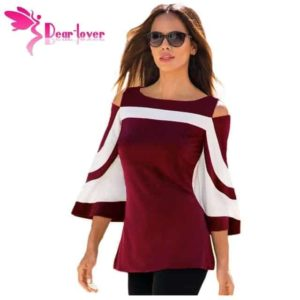 Dear-Lover Color Block Bell Sleeve Blouse