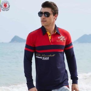 Men's Solid Long Sleeve Polo Shirt