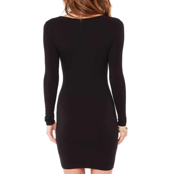 Sexy Casual Women Black Long Sleeve Dress 5