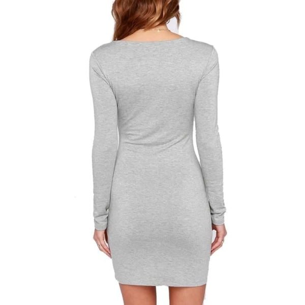 Sexy Casual Women Black Long Sleeve Dress 6