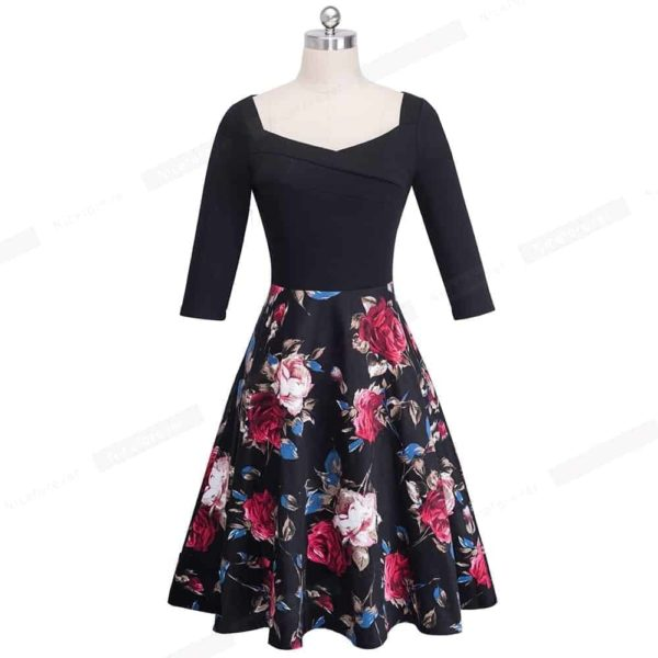 Nice-Forever Vintage Print Flower Patchwork Ruffle Dress 2