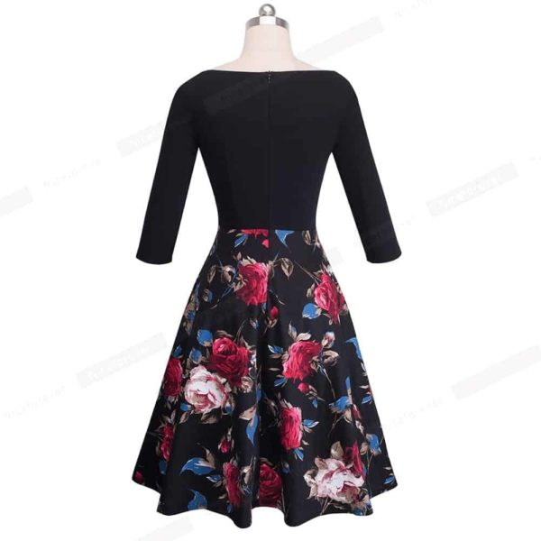 Nice-Forever Vintage Print Flower Patchwork Ruffle Dress 3