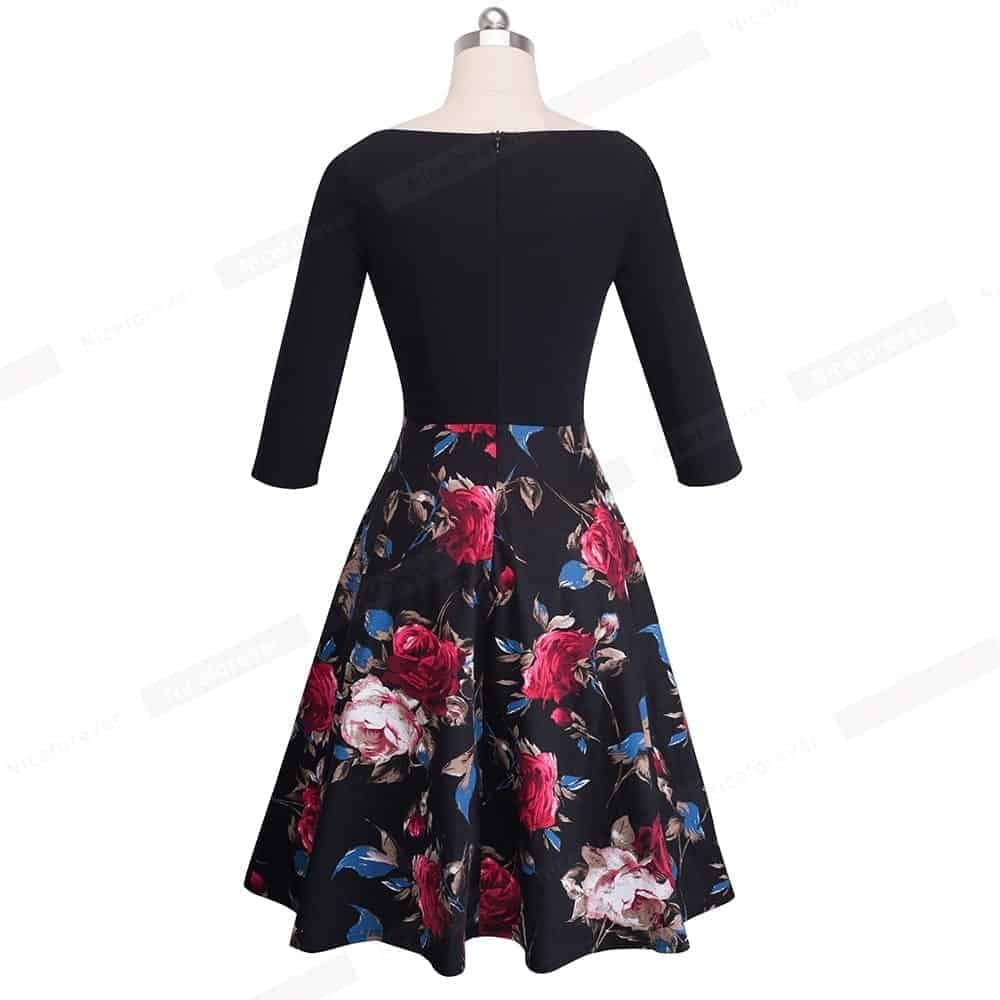 bb845ea7a1 Nice-Forever Vintage Print Flower Patchwork Ruffle Dress