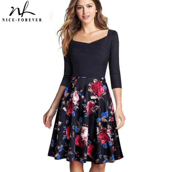 Nice-Forever Vintage Print Flower Patchwork Ruffle Dress 1