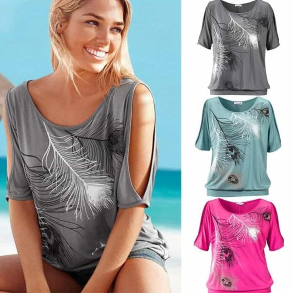 Slit Sleeve Cold Shoulder Feather Women Casual Summer T-Shirt 4
