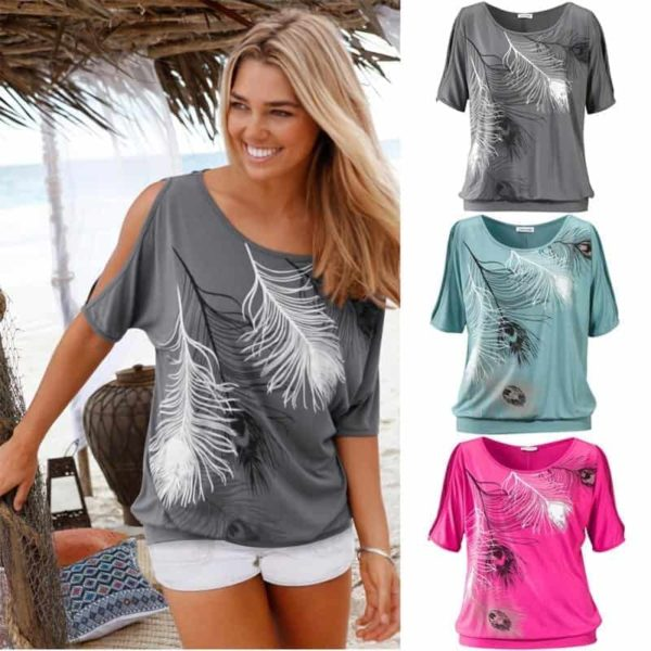 Slit Sleeve Cold Shoulder Feather Women Casual Summer T-Shirt 6