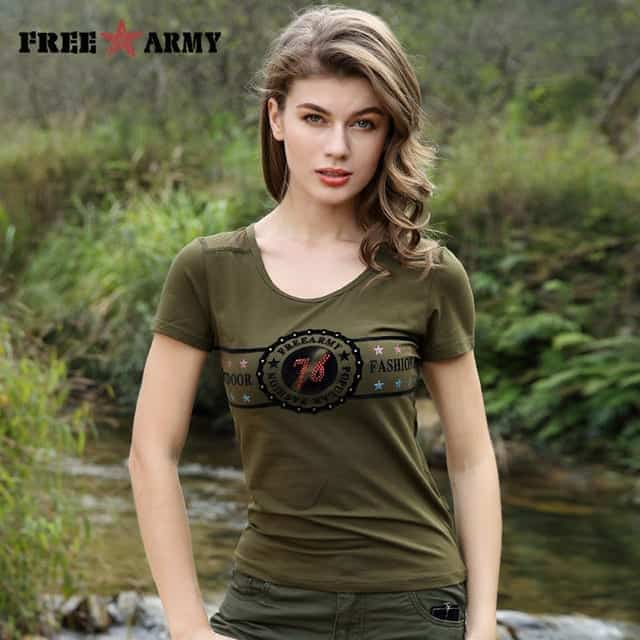 Free Army Brand Military Slim Green Short Sleeve Women T-Shirt 25e713ace