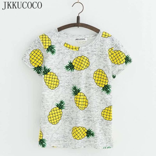 Women Pineapple Print Tees Short Sleeve T-Shirt 1