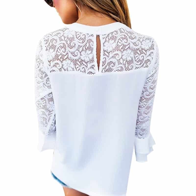 4b22e38b9a White Lace Blouse Elegant Long Sleeve | Rhalyn's