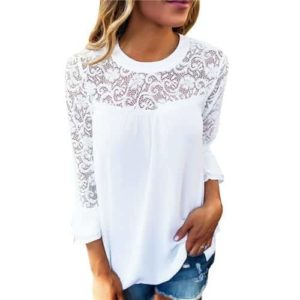 White Lace Blouse Elegant Long Sleeve
