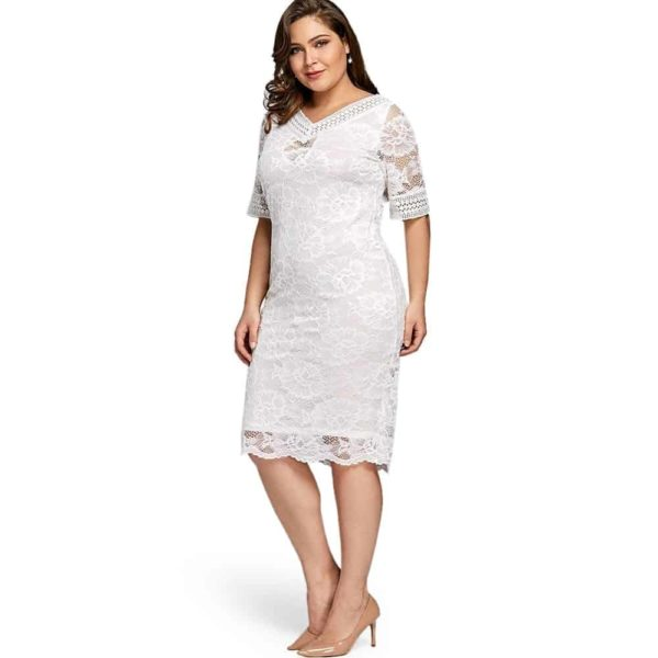 White Lace Dress With Sleeves 3