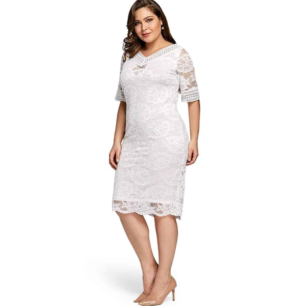 4188f30d6f5 White Lace Dress With Sleeves - Save 65% OFF