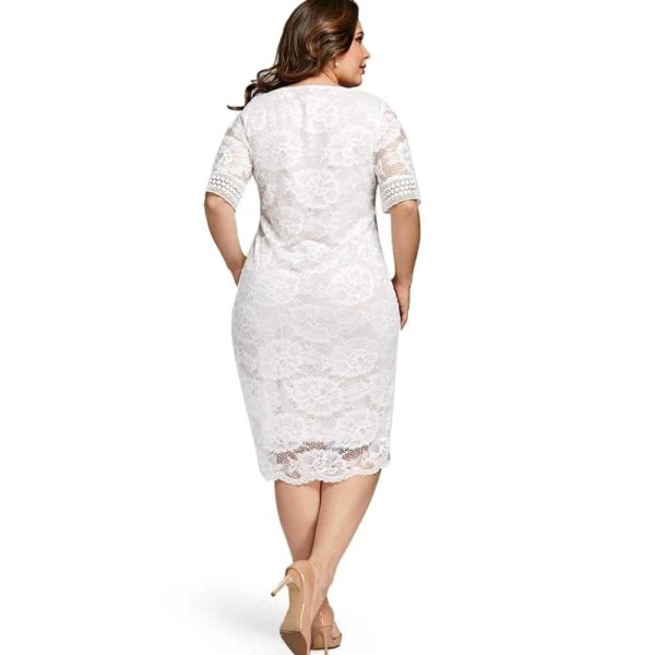 White Lace Dress With Sleeves 5