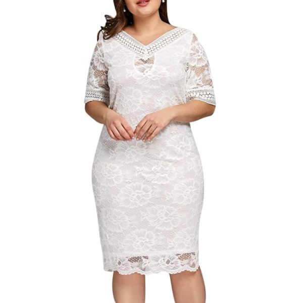 White Lace Dress With Sleeves 4