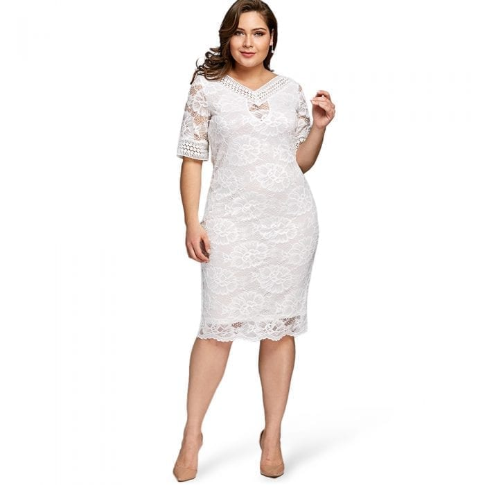 White Lace Dress With Sleeves - Save 65% OFF | Rhalyn\'s
