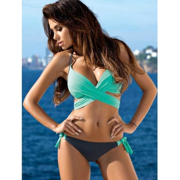 Womens Bikini Swimsuit Push Up Criss Cross Bandage Halter 3
