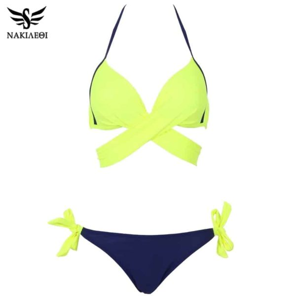 Womens Bikini Swimsuit Push Up Criss Cross Bandage Halter 4