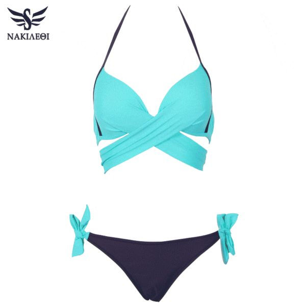 Womens Bikini Swimsuit Push Up Criss Cross Bandage Halter 6