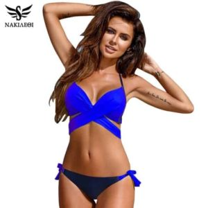 Womens Bikini Swimsuit Push Up Criss Cross Bandage Halter
