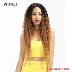 Noble Hair Lace Front Ombre Blonde Wig 30 Inch Long Wavy Red Synthetic