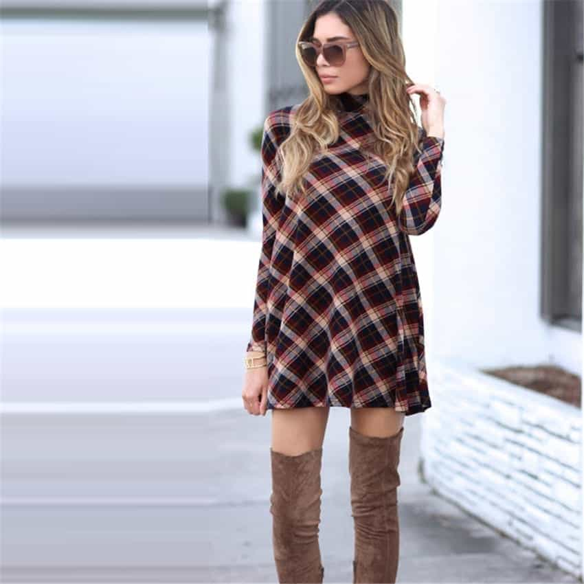 Plaid Flannel Women Dresses Long Sleeve Rhalyn S