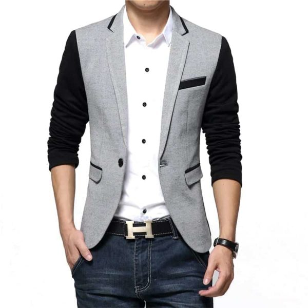 New Casual Men Blazer Cotton Slim Suits Jacket Blazers 2