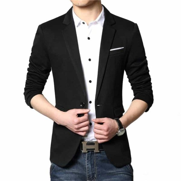 New Casual Men Blazer Cotton Slim Suits Jacket Blazers 3