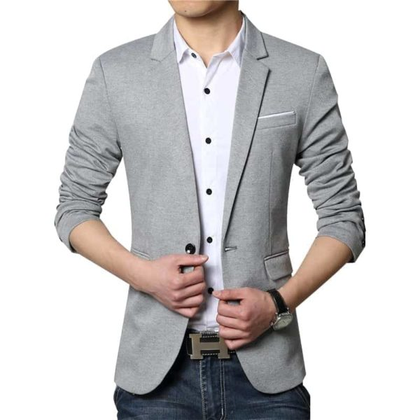 New Casual Men Blazer Cotton Slim Suits Jacket Blazers 4