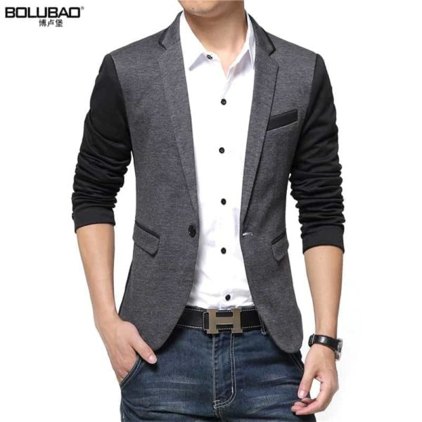 New Casual Men Blazer Cotton Slim Suits Jacket Blazers 1