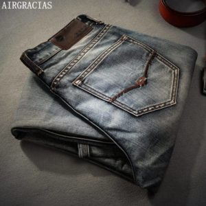 AIRGRACIAS Brand Jeans Retro Nostalgia Straight Denim Men Jeans