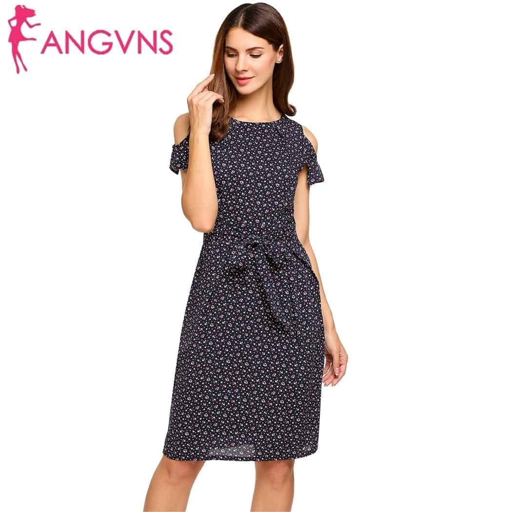 8052ad4830254 ANGVNS Women Vintage Summer Dress 2018 Top Rufflles Cold Shoulder Short  Sleeve Floral Print Casual Dress with Belt Beach Dress | Rhalyns