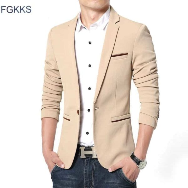 New Arrival Luxury Men Blazer Cotton Slim Fit