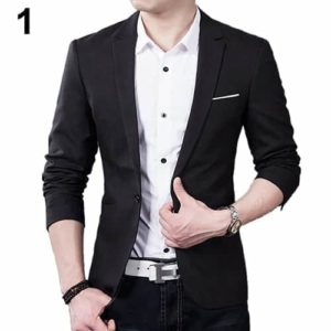 Men Slim Autumn Suit Blazer Formal Business