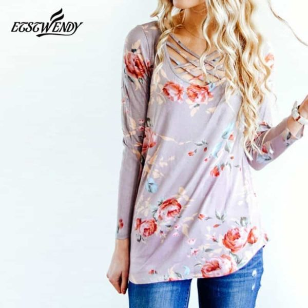 Long Sleeve Hollow Out Printed Slim Shirt 3