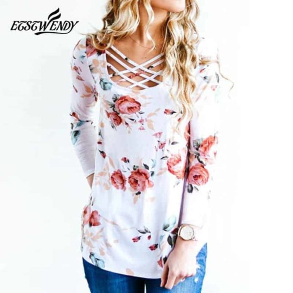 Long Sleeve Hollow Out Printed Slim Shirt